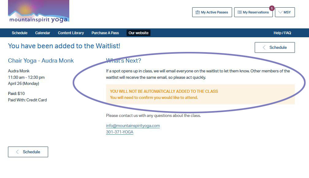 Added to Waitlist Confirmation screen
