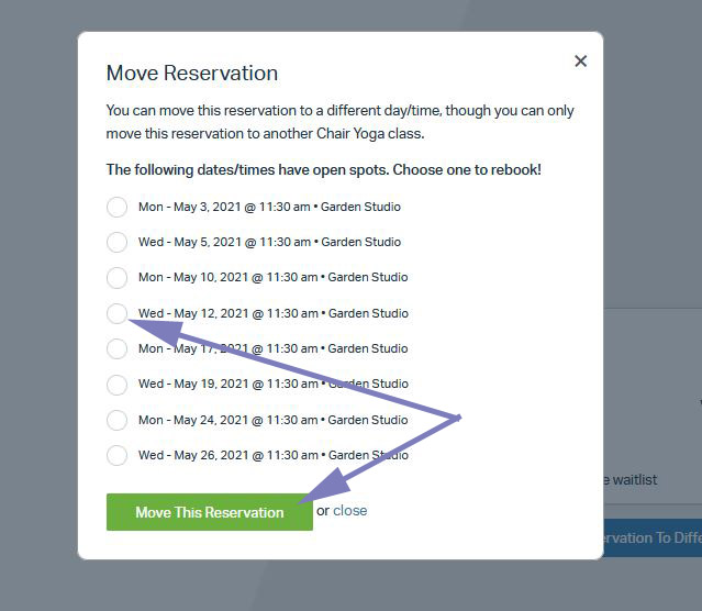 Select new date and time for your class reservation
